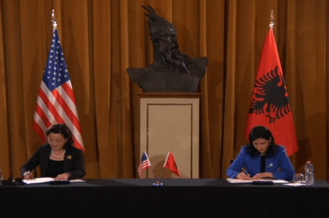 The extradition treaty with the USA and Albania signed by American Ambassador Kim and Justice Minister Gjonaj