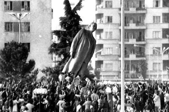 30 years since the toppling of dictator Enver Hoxha statue
