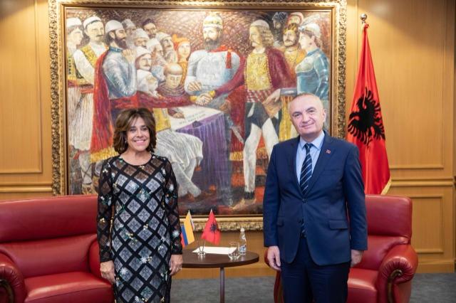 Der albanische Staatspräsident, Ilir Meta, empfing die neue kolumbianische Botschafterin in Tirana