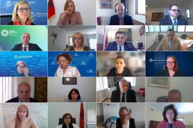 Online-Treffen der  albanischen Wirtschafts- und Finanzministerin, Anila Denaj, mit der Vizepräsidentin der Weltbank, Anna Bjerde