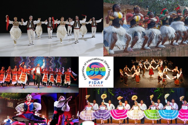 """""""International Folk Festival Tirana"""", with 10 folk ensembles on stage from different countries"""