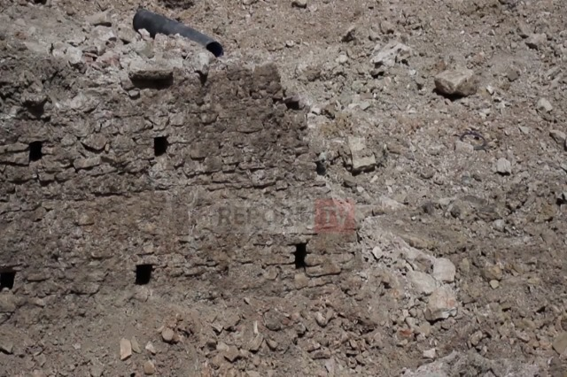 Medieval fortification walls are discovered in the square 'Cerciz Topulli' in Gjirokastra