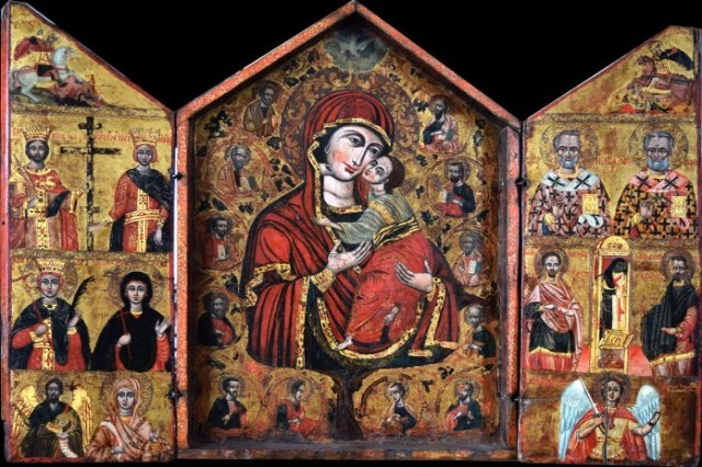 Triptych with the Virgin Mary, Prophets and Saints is the icon painted by the famous 18th century iconographer Johan Cetiri