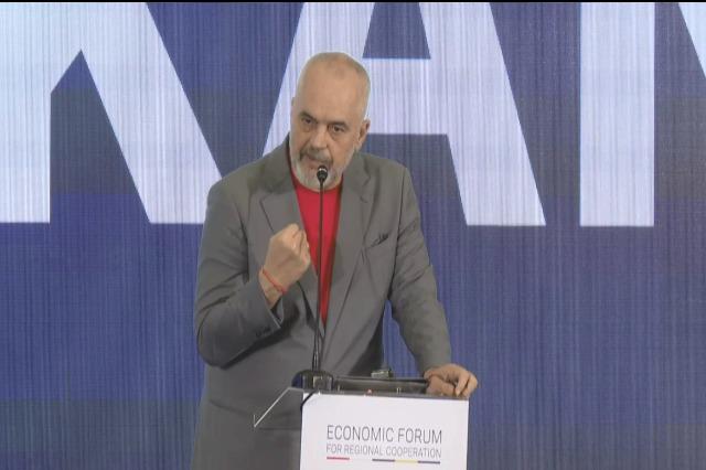 Der albanische  Regierungschef, Edi Rama spricht von drei Herausforderungen für die Zukunft