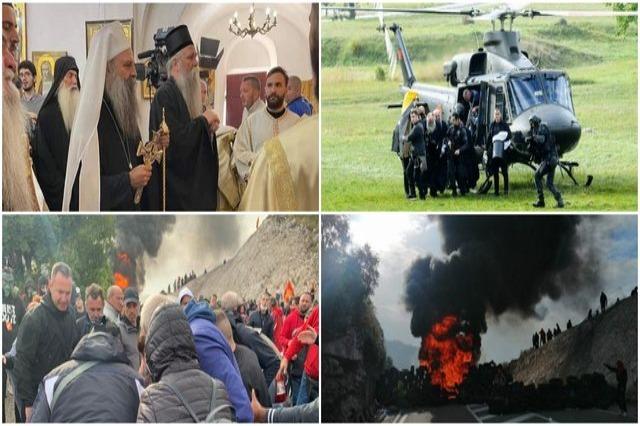 Dim, plamen i haos, Patrijarh dolazi helikopterom i pancirkom iz Srbije, ustoličen u Crnoj Gori