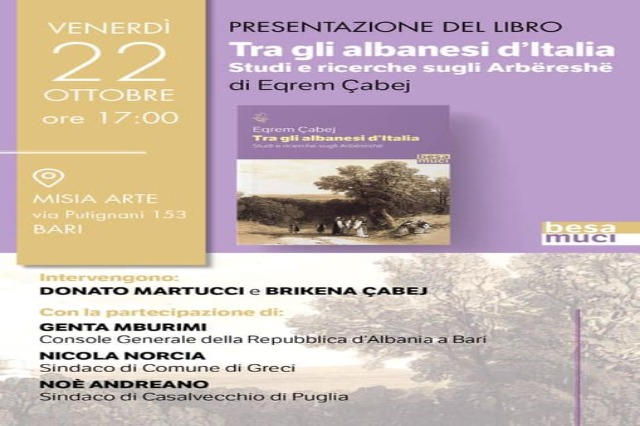 """Presentazione del libro """"Tra gli albanesi d'Italia. Studi e ricerche sugli Arbëreshë"""""""