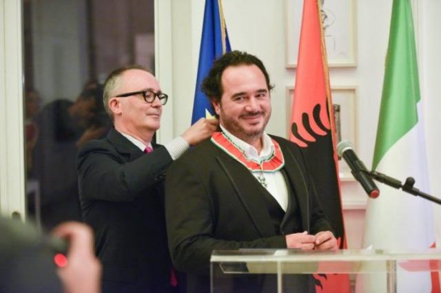 """Albanian violinist Olen Cesari decorated by the Italian President as """"Commendatore dell'Ordine della Stella d'Italia"""""""