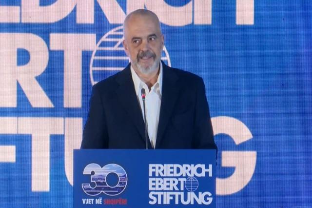 Der albanische Ministerpräsident, Edi Rama , spricht über die 30-jährige Präsenz der Friedrich Ebert Stiftung in Albanien