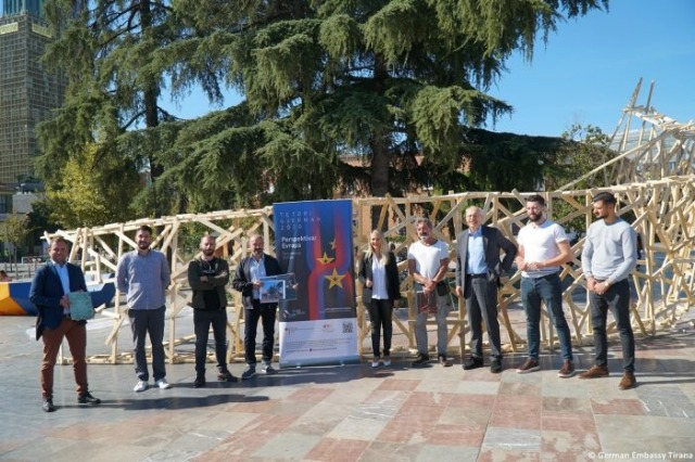 German October/ ''Wooden Cloud'' placed at Scanderbeg Square